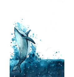 Whale swimming on night sky watercolor vector