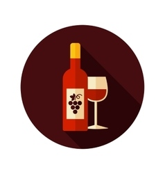 Wine flat icon with long shadow vector image