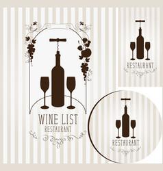wine set elements for design restaurant vector image