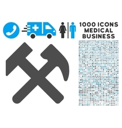 Work Icon with 1000 Medical Business Symbols vector image