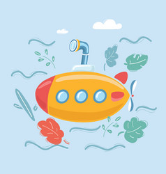 Yellow submarine under sea vector