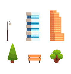 set of flat style city town elements vector image