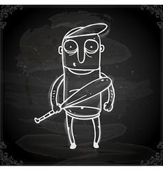 Baseball Player Drawing on Chalk Board vector image