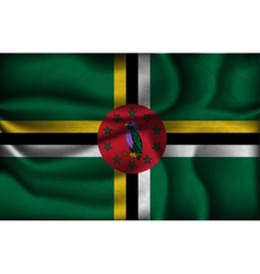 crumpled flag of Dominica on a light background vector image