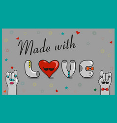 Made with love vintage card vector