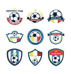 soccer fever footbal club emblem set vector image