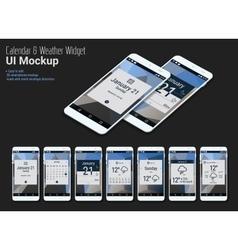 Calendar Mobile App Widgets UI Designs with vector image vector image