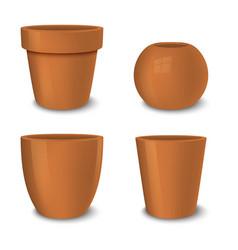 realistic brown empty flower pot set vector image