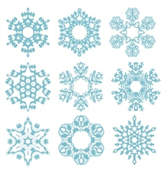 Set blue snowflakes isolated on a white background vector image