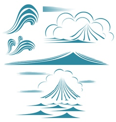 water wave symbol set vector image vector image
