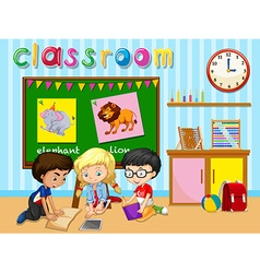 Children working in group in classroom vector image