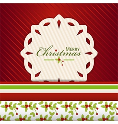 Christmas snowflake label on red2 vector image