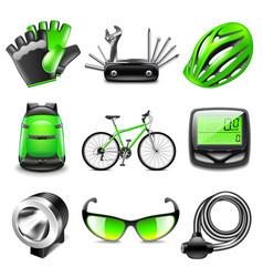 cycling icons set vector image