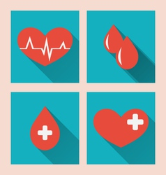 flat medical icons of donate blood with long vector image vector image