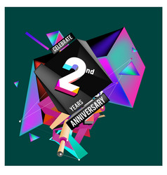2nd anniversary logo with colorful background vector