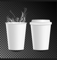 3d coffee paper cup hot drink collection vector image