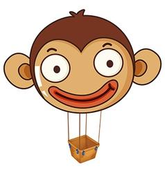 A monkey balloon with an empty basket vector