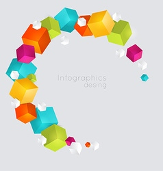 Abstract color cubes background vector