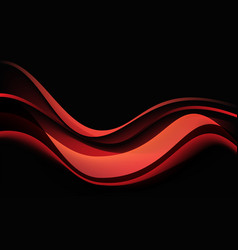 abstract red wave curve shadow dynamic on black vector image