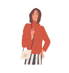 Arrogant woman with negative annoyed and confused vector