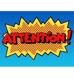 Attention inscription comic book style vector