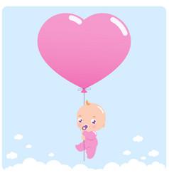 Baby girl with balloon vector