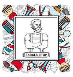 barber shop poster with symbol hipster man vector image