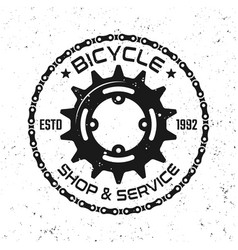 bicycle repair service round vintage emblem vector image