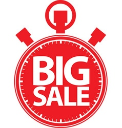 Big sale stopwatch red label vector