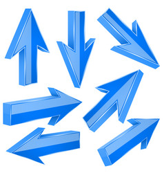 blue 3d arrows set of shiny straight signs vector image