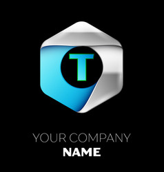 blue letter t logo in the silver-blue hexagonal vector image