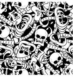 bones seamless pattern skeleton background skull vector image vector image