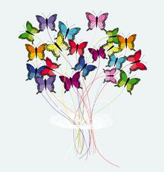 Bouquet of butterflies vector