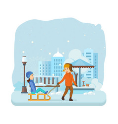 boy rolls girl on snow dressed in winter clothes vector image