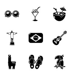 brazilian trip icons set simple style vector image