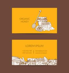 Business card template for honey farmer vector