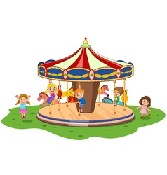 Cartoon little kid playing game carousel with colo vector