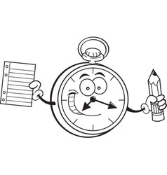 Cartoon watch holding a paper and pencil vector
