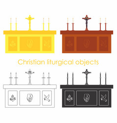 christian liturgical objects gold and wood black vector image