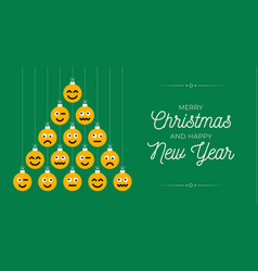 christmas and new year greeting flat cartoon card vector image