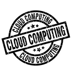 Cloud computing round grunge black stamp vector