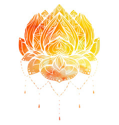 Color lotus with boho pattern and watercolor vector