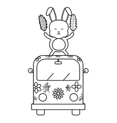 cute rabbit in van hippie boho style vector image