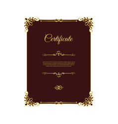 dark red certificate with golden elements vector image