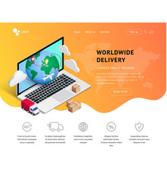 delivery service landing with laptop icons vector image