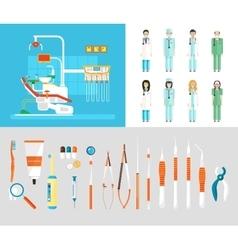 Dental office set dentists instruments vector image