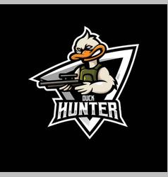 duck mascot logo design with modern vector image