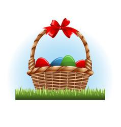 easter eggs in basket vector image