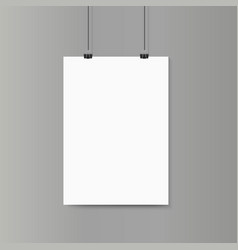 Empty vertical white paper poster mockup on grey vector image