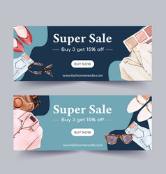 Fashion banner design with shoes jeans shirt vector